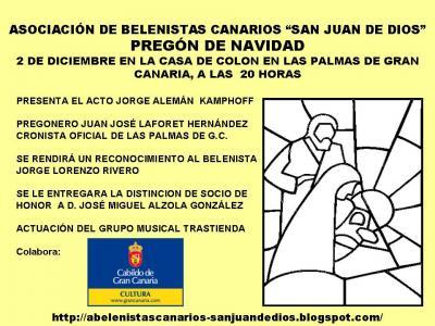 PROGRAMA DE ACTIVIDADES DE LA ASOCIACION DE BELENISTAS CANARIOS SAN JUAN DE DIOS